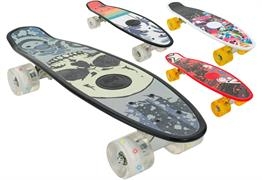 SKATEBOARD CM.55 50KG C/RUOTE C/LED 4/ASS   6 $